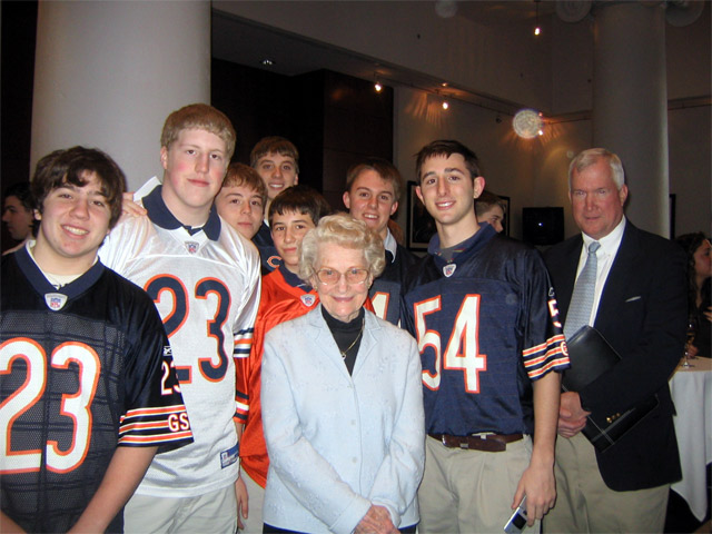 LTP members donned their Brian Urlacher jerseys and posed with the co-owners of the Chicago Bears Virginia and Patrick McCaskey.