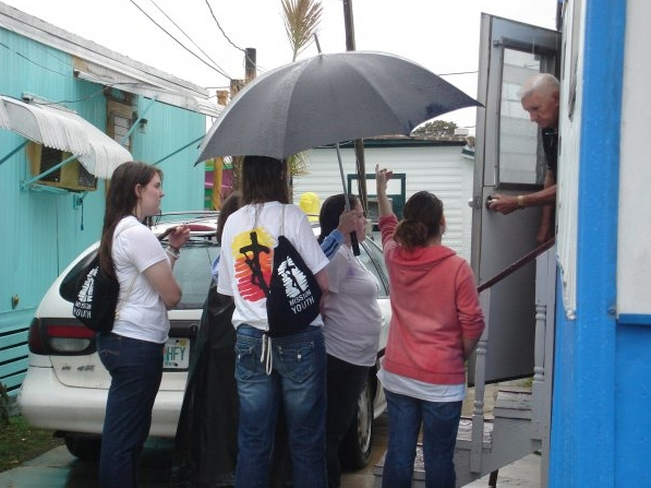 Rain, wind, or shine: visiting and sharing the good news.