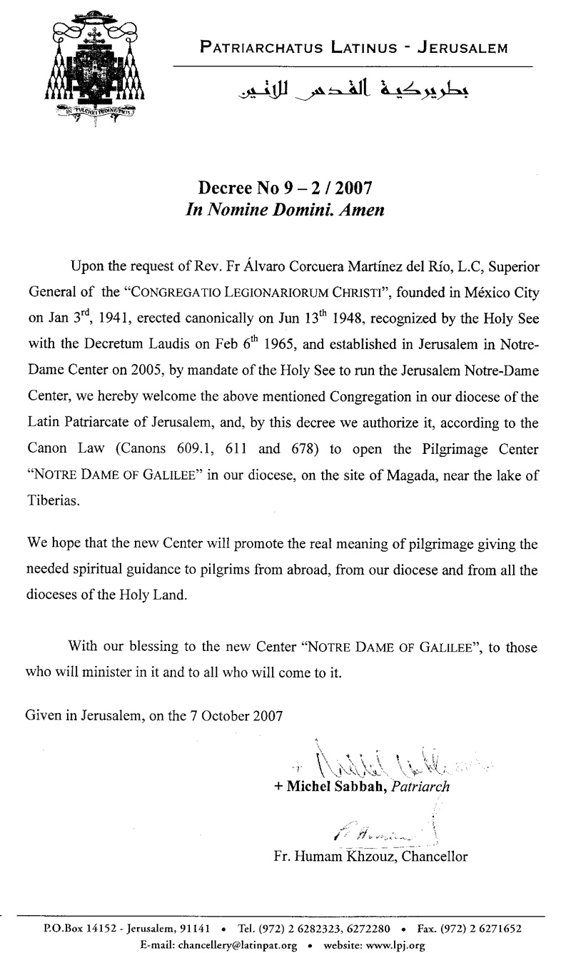Decreto del Patriarca Latino de Jerusalén que da su aprobación al proyecto Galilea.