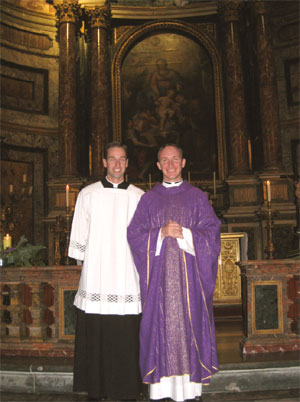 Fr. Jason Smith LC at his first Mass, with his brother, Br. Aaron Smith LC.