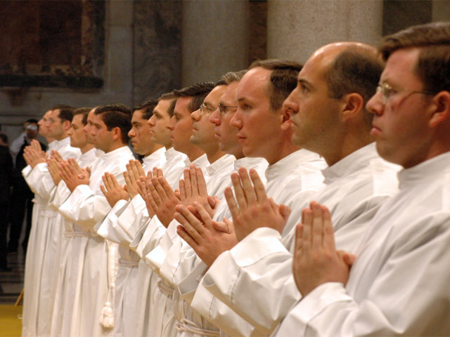Soon-to-be-Fr. Jason Smith LC waits for ordination with 54 other Legionaries during ceremonies at the Basilica of St. Mary Major in Rome.