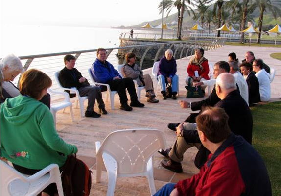 Sunrise prayer service at the Sea of Galilee with Fr. John Solana, LC.