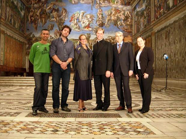 The EWTN team with host Elizabeth Lev and Father Mark Haydu, LC, International Coordinator of The Patrons of the Arts in the Vatican Museums, in the Sistine Chapel.