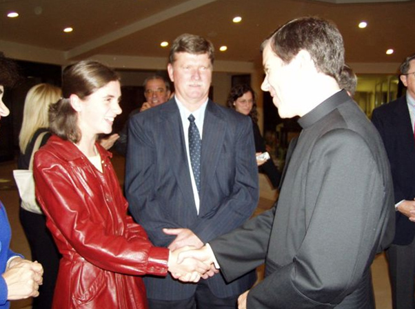 Mary Angela and her father meeting Father Alvaro Corcuera, the general director of the Legion of Christ and Regnum Christi.