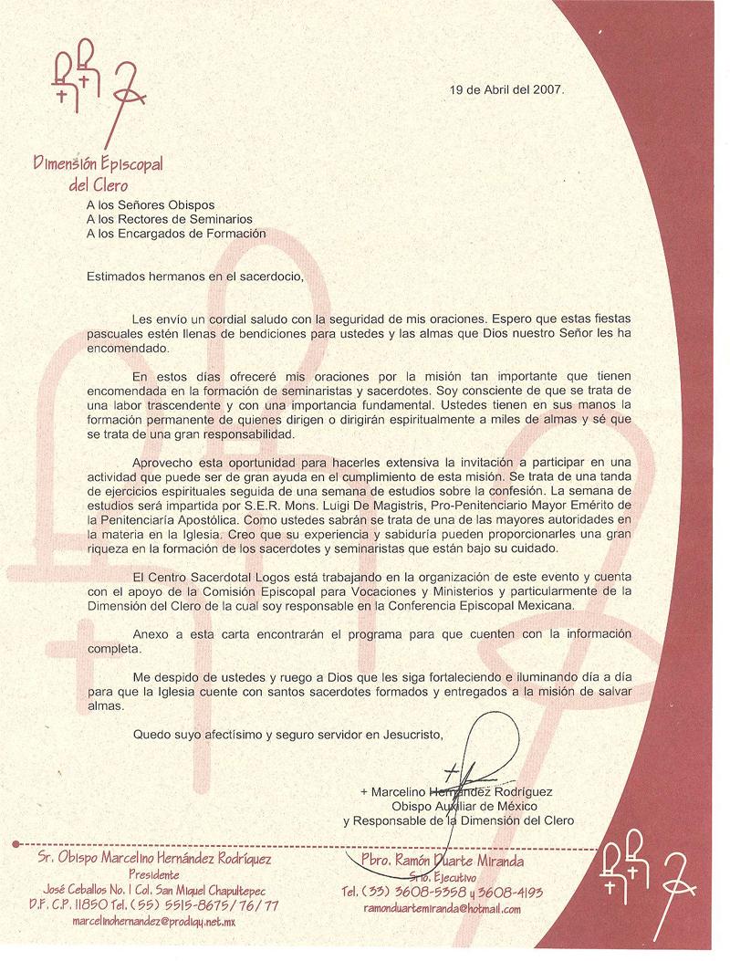 Carta de Mons. Marcelino Hernández Rodríguez