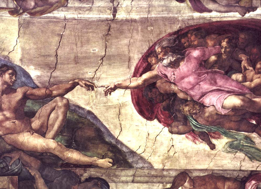 La creación de Adán, fresco de la Capilla Sixtina.