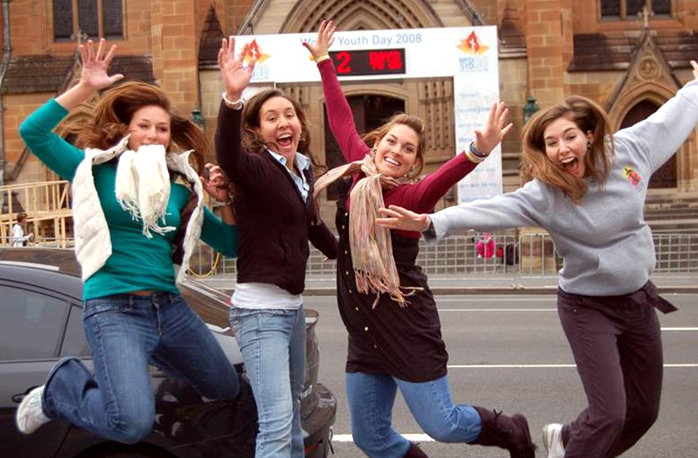 Young women on the Mission Youth track, celebrating the two-day countdown before World Youth Day.