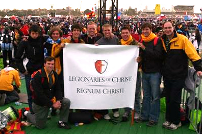 Participants on the young men�s Regnum Christi convention at Randwick Raceway.