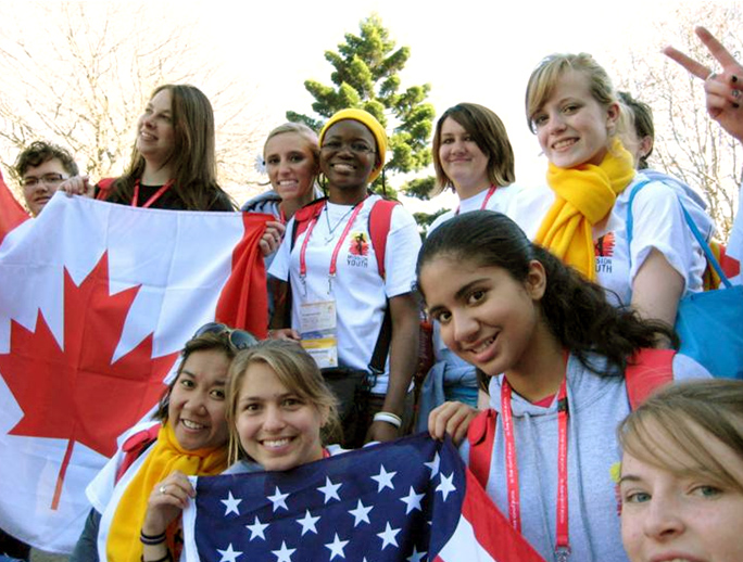 �It was a sisterhood that was formed, based on Christ and on the experience we had together,� said Lexy Schuele (center, behind American flag).