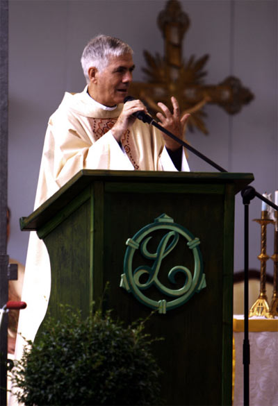 Monsignor Giovanni D'Ercole during the homily at Mass.