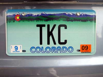 The Forsters' TKC vanity plate.
