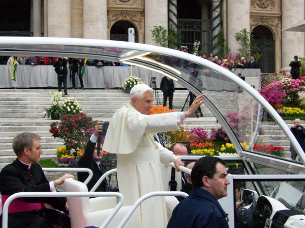 Pope Benedict XVI during the Wednesday audience in St. Peter�s Square.