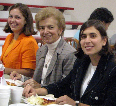 Mari Carmen with two of her students in October 2006